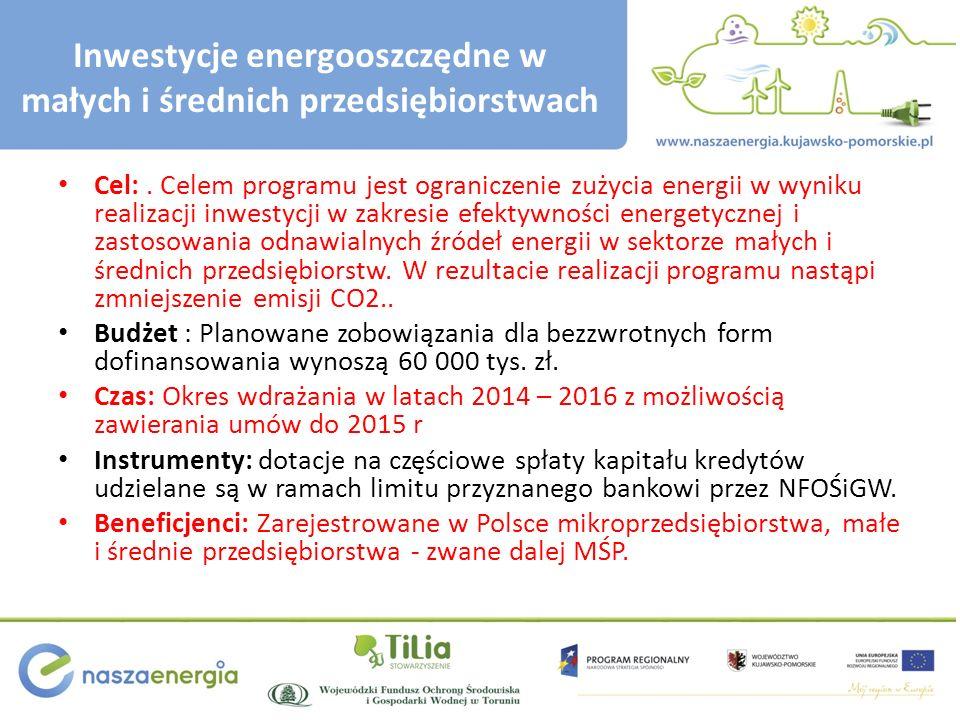 Inwestycje energooszczędne w małych i średnich przedsiębiorstwach Cel:.