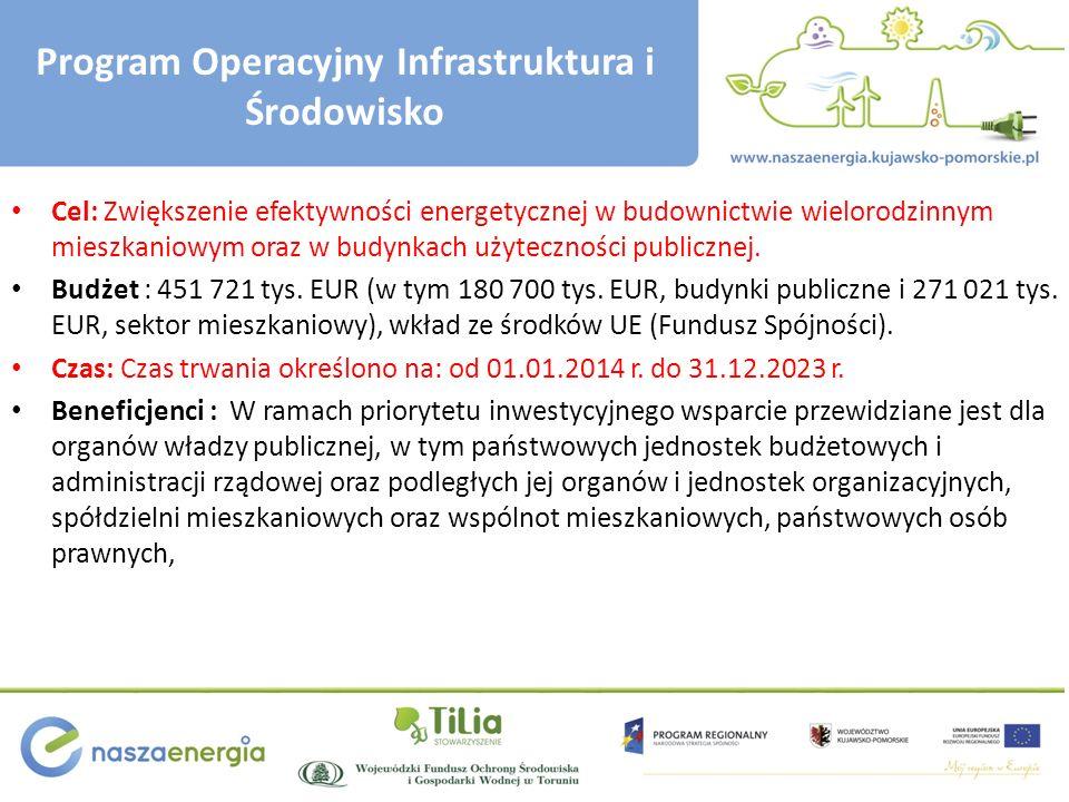 Program Operacyjny Infrastruktura i Środowisko Cel: Zwiększenie efektywności energetycznej w budownictwie wielorodzinnym mieszkaniowym oraz w budynkach użyteczności publicznej.