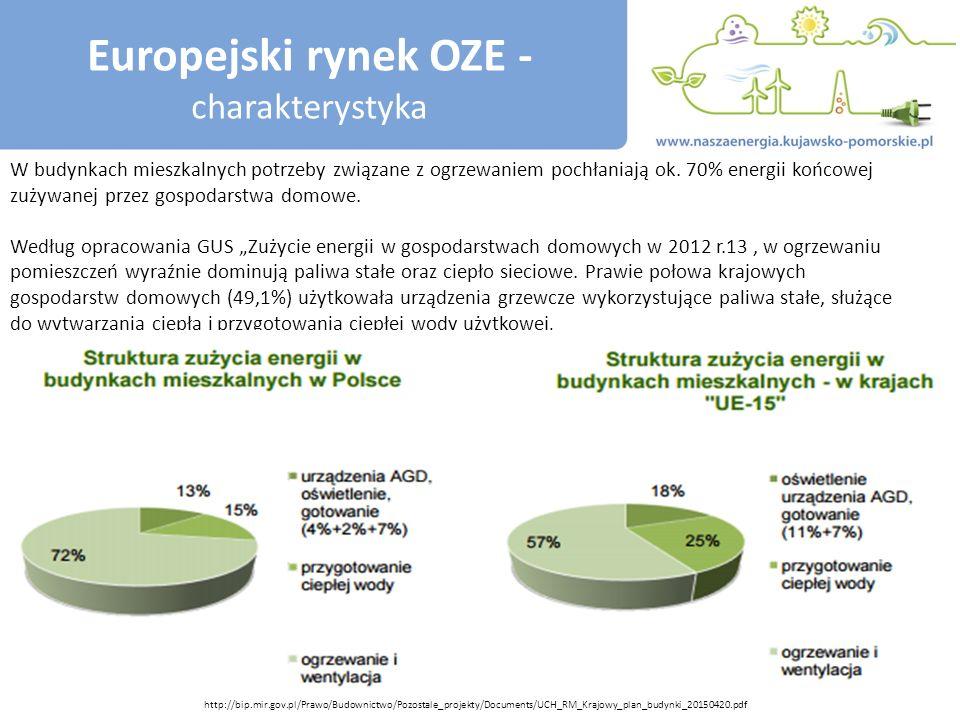 Europejski rynek OZE - charakterystyka W budynkach mieszkalnych potrzeby związane z ogrzewaniem pochłaniają ok.
