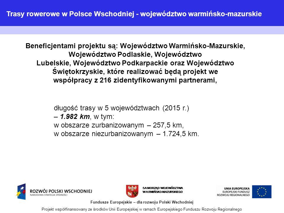 SAMORZĄD WOJEWÓDZTWA WARMIŃSKO-MAZURSKIEGO Fundusze Europejskie – dla rozwoju Polski Wschodniej Projekt współfinansowany ze środków Unii Europejskiej w ramach Europejskiego Funduszu Rozwoju Regionalnego długość trasy w 5 województwach (2015 r.) – 1.982 km, w tym: w obszarze zurbanizowanym – 257,5 km, w obszarze niezurbanizowanym – 1.724,5 km.