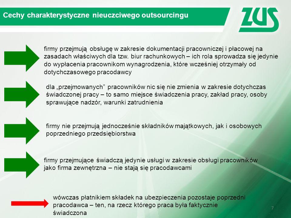 77 Cechy charakterystyczne nieuczciwego outsourcingu firmy przejmują obsługę w zakresie dokumentacji pracowniczej i płacowej na zasadach właściwych dl