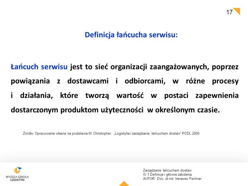 Zarządzanie łańcuchem dostaw. W 1 Definicje i główne założenia. AUTOR: Doc. dr inż. Ireneusz Fechner 17 Łańcuch serwisu jest to sieć organizacji zaang