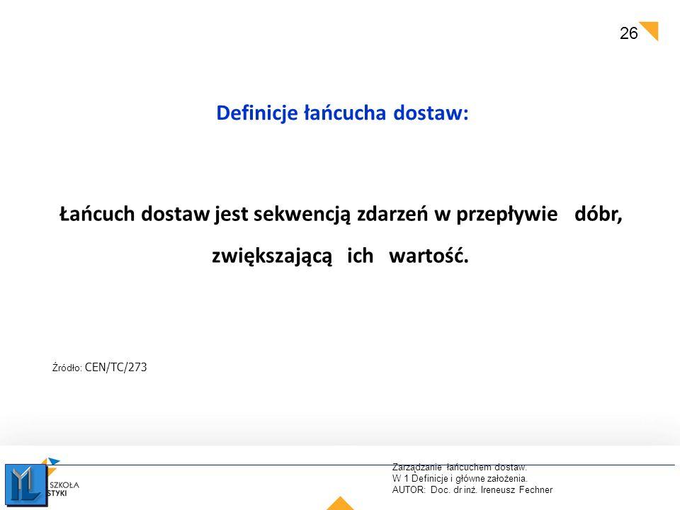 Zarządzanie łańcuchem dostaw. W 1 Definicje i główne założenia. AUTOR: Doc. dr inż. Ireneusz Fechner 26 Definicje łańcucha dostaw: Źródło: CEN/TC/273