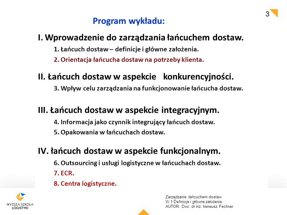 Zarządzanie łańcuchem dostaw. W 1 Definicje i główne założenia. AUTOR: Doc. dr inż. Ireneusz Fechner 3 Program wykładu: I.Wprowadzenie do zarządzania