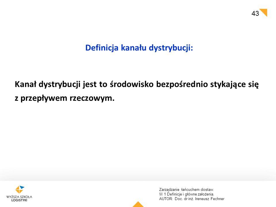 Zarządzanie łańcuchem dostaw. W 1 Definicje i główne założenia. AUTOR: Doc. dr inż. Ireneusz Fechner 43 Definicja kanału dystrybucji: Kanał dystrybucj