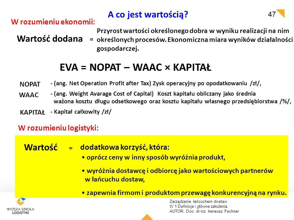 Zarządzanie łańcuchem dostaw. W 1 Definicje i główne założenia. AUTOR: Doc. dr inż. Ireneusz Fechner 47 A co jest wartością? Wartość dodana = EVA = NO