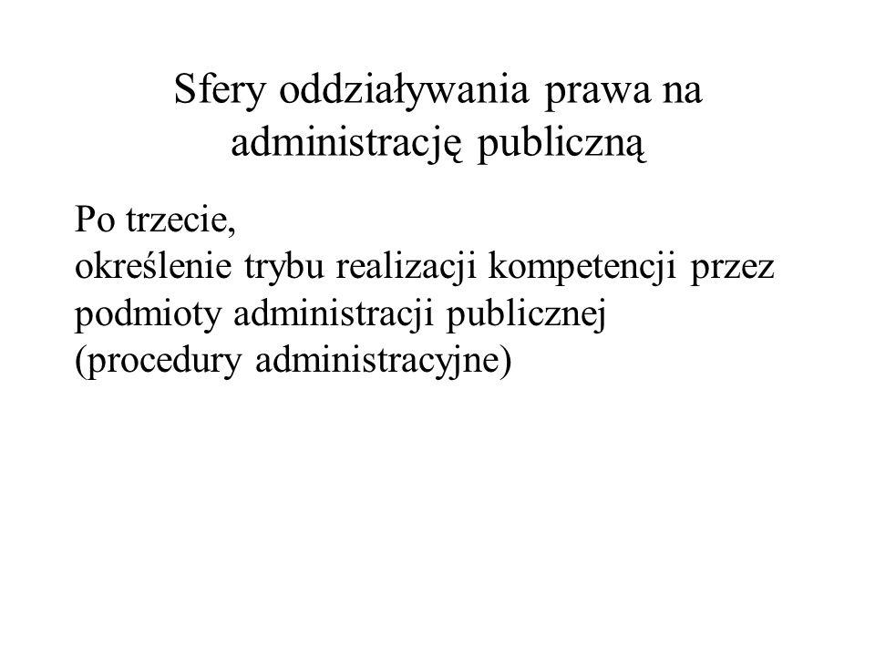 Sfery oddziaływania prawa na administrację publiczną Po trzecie, określenie trybu realizacji kompetencji przez podmioty administracji publicznej (proc