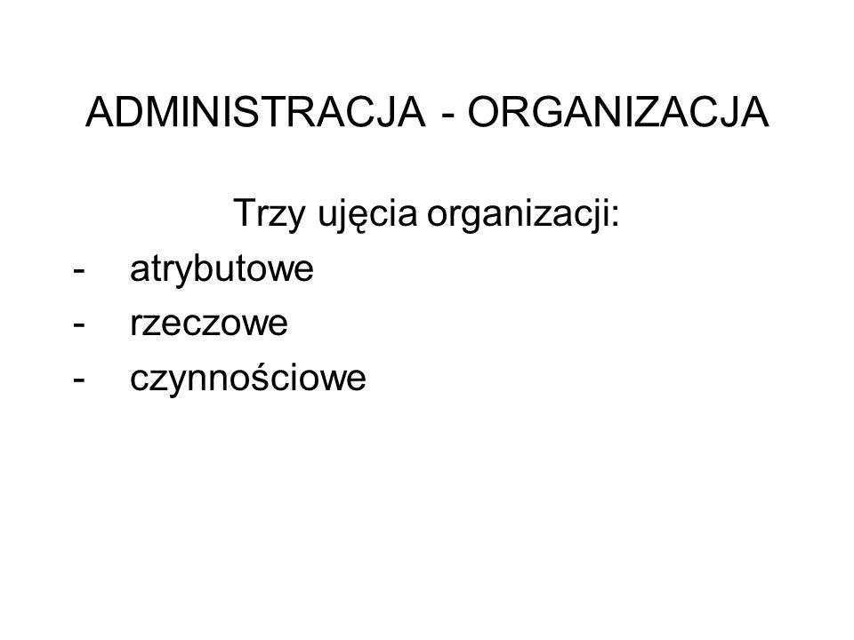 """Organizacja w ujęciu atrybutowym cecha """"rzeczy złożonych, których elementy (części) współprzyczyniają się do powodzenia całości – układ współzależności i współdziałania elementów złożonej całości (T."""