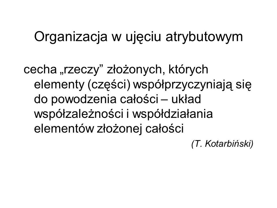 """Organizacja w ujęciu rzeczowym """"rzecz zorganizowana – zespół ludzi i rzeczy powiązanych ze sobą we współdziałaniu dla osiągnięcia określonego celu"""