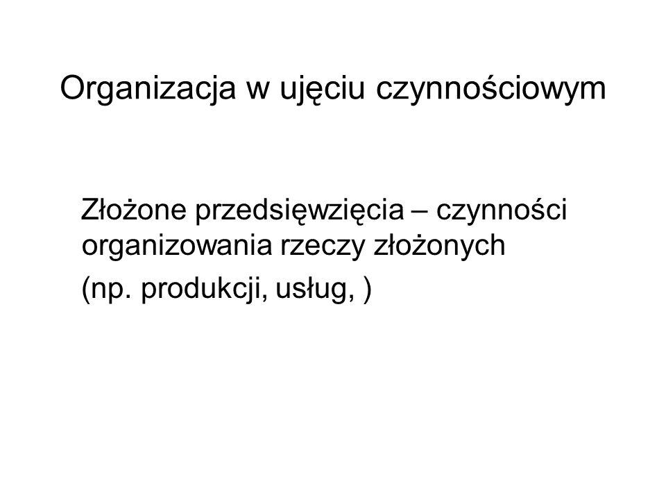 Organizacja w ujęciu czynnościowym Złożone przedsięwzięcia – czynności organizowania rzeczy złożonych (np. produkcji, usług, )