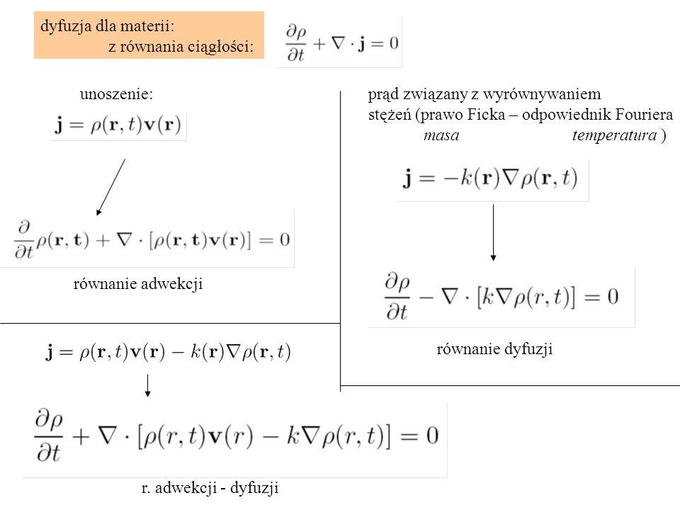 dyfuzja dla materii: z równania ciągłości: unoszenie:prąd związany z wyrównywaniem stężeń (prawo Ficka – odpowiednik Fouriera masatemperatura ) równan