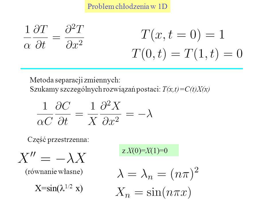 Problem chłodzenia w 1D Metoda separacji zmiennych: Szukamy szczególnych rozwiązań postaci: T(x,t)=C(t)X(x) Część przestrzenna: z X(0)=X(1)=0 (równani