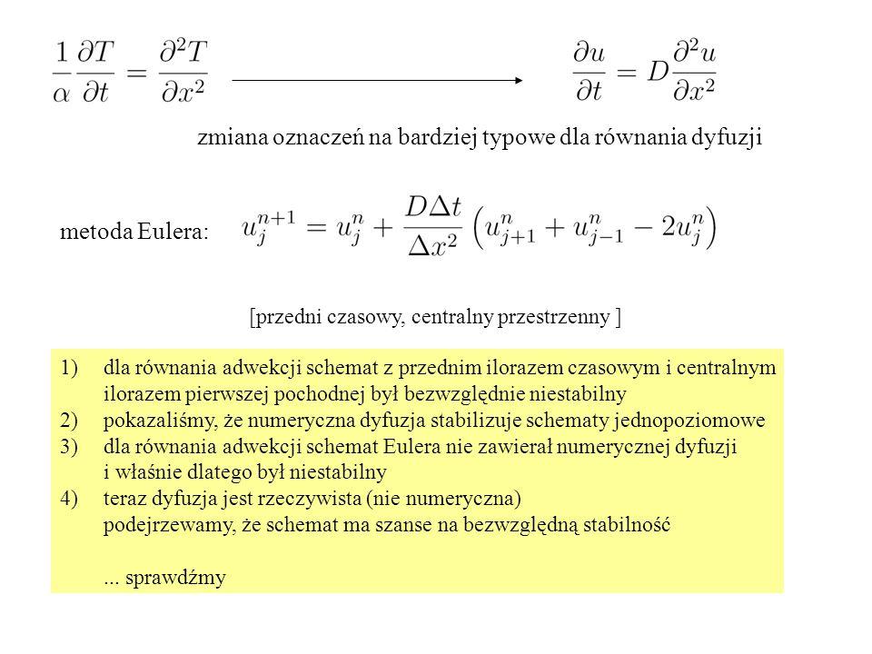 metoda Eulera: zmiana oznaczeń na bardziej typowe dla równania dyfuzji [przedni czasowy, centralny przestrzenny ] 1)dla równania adwekcji schemat z pr