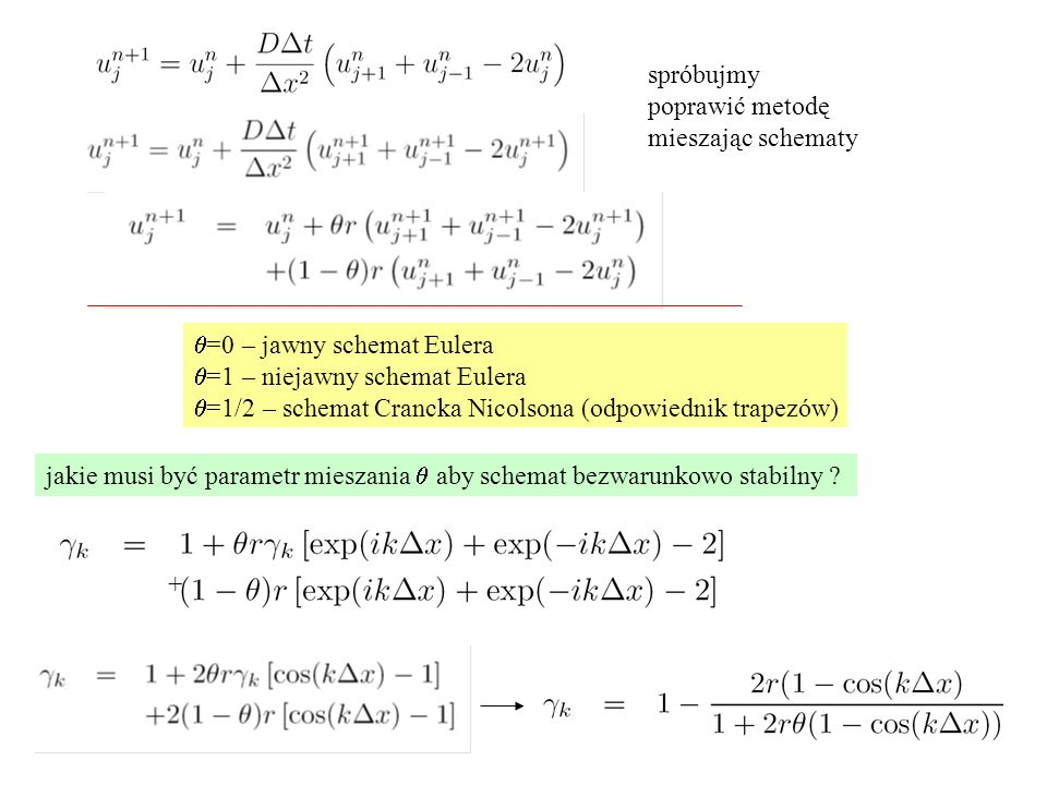 spróbujmy poprawić metodę mieszając schematy  =0 – jawny schemat Eulera  =1 – niejawny schemat Eulera  =1/2 – schemat Crancka Nicolsona (odpowiedni