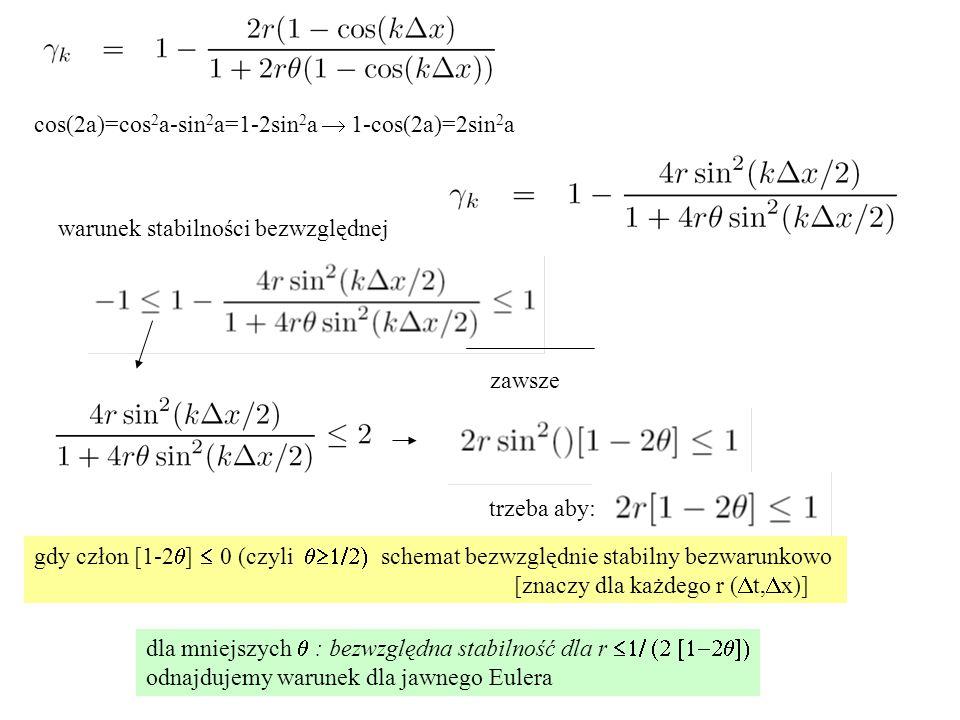 cos(2a)=cos 2 a-sin 2 a=1-2sin 2 a  1-cos(2a)=2sin 2 a warunek stabilności bezwzględnej zawsze gdy człon [1-2  ]  0 (czyli  schemat bezwzgl