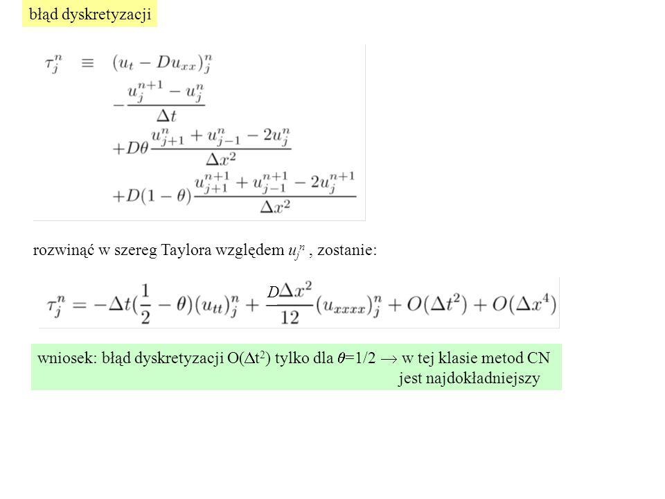 błąd dyskretyzacji rozwinąć w szereg Taylora względem u j n, zostanie: D wniosek: błąd dyskretyzacji O(  t 2 ) tylko dla  =1/2  w tej klasie metod