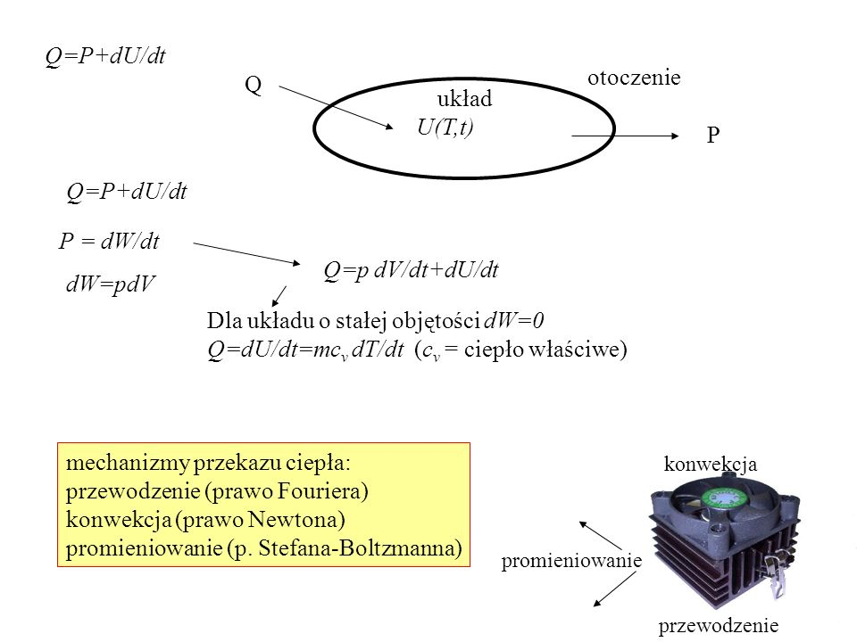 Q=P+dU/dt układ otoczenie Q P U(T,t) dW=pdV P = dW/dt Q=p dV/dt+dU/dt Dla układu o stałej objętości dW=0 Q=dU/dt=mc v dT/dt (c v = ciepło właściwe) me