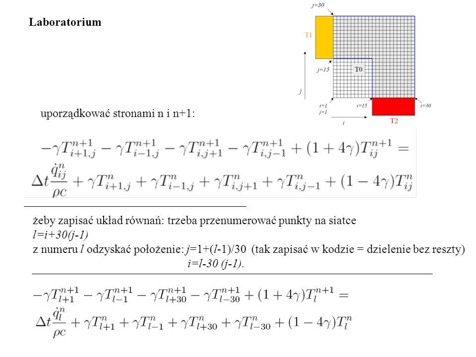 żeby zapisać układ równań: trzeba przenumerować punkty na siatce l=i+30(j-1) z numeru l odzyskać położenie: j=1+(l-1)/30 (tak zapisać w kodzie = dziel