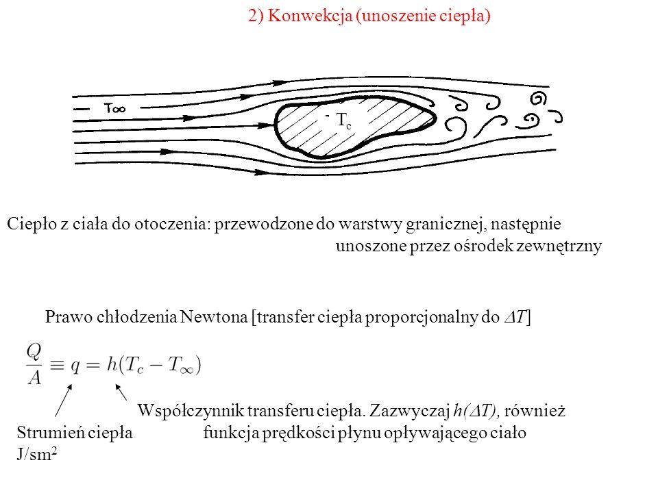 2) Konwekcja (unoszenie ciepła) Ciepło z ciała do otoczenia: przewodzone do warstwy granicznej, następnie unoszone przez ośrodek zewnętrzny Prawo chło