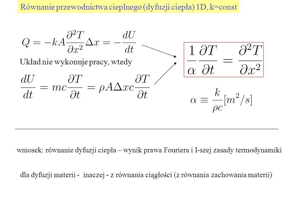 Równanie przewodnictwa cieplnego (dyfuzji ciepła) 1D, k=const Układ nie wykonuje pracy, wtedy wniosek: równanie dyfuzji ciepła – wynik prawa Fouriera
