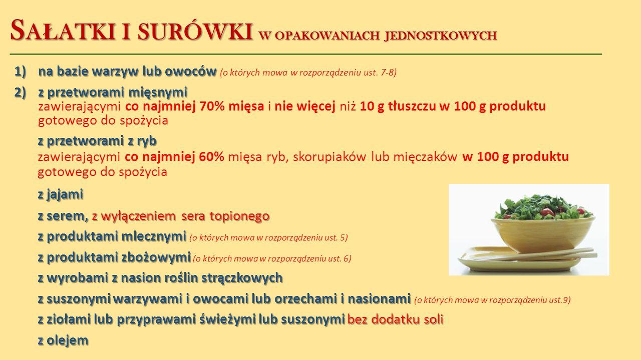 S A Ł ATKI I SURÓWKI W OPAKOWANIACH JEDNOSTKOWYCH 1)na bazie warzyw lub owoców 1)na bazie warzyw lub owoców (o których mowa w rozporządzeniu ust. 7-8)