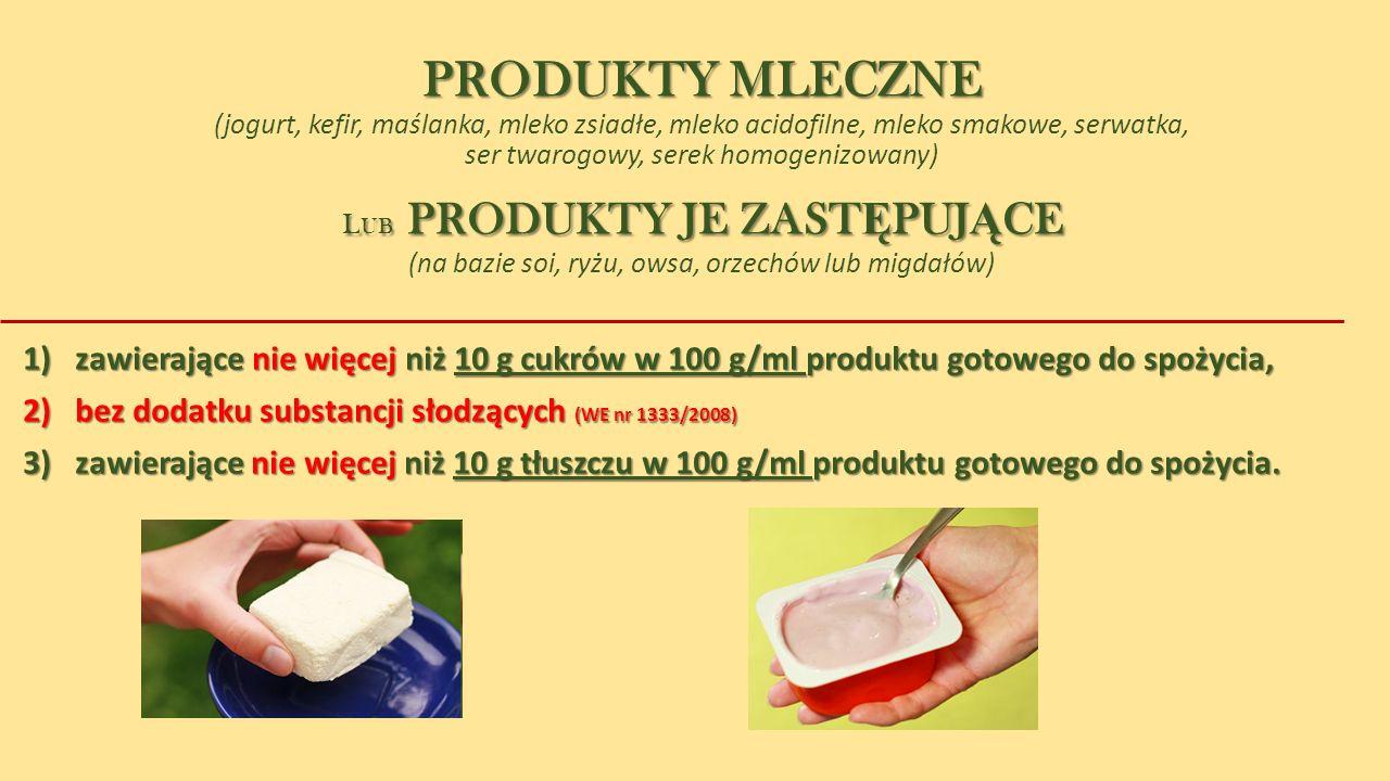 PRODUKTY MLECZNE PRODUKTY MLECZNE (jogurt, kefir, maślanka, mleko zsiadłe, mleko acidofilne, mleko smakowe, serwatka, ser twarogowy, serek homogenizow