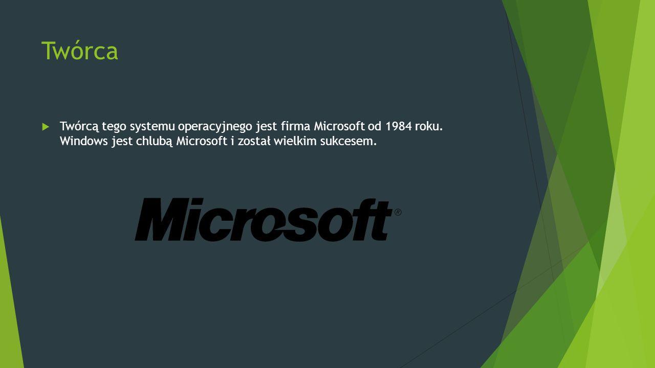 Twórca  Twórcą tego systemu operacyjnego jest firma Microsoft od 1984 roku. Windows jest chlubą Microsoft i został wielkim sukcesem.