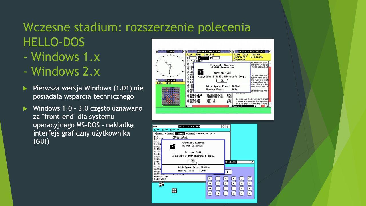 Wczesne stadium: rozszerzenie polecenia HELLO-DOS - Windows 1.x - Windows 2.x  Pierwsza wersja Windows (1.01) nie posiadała wsparcia technicznego  W