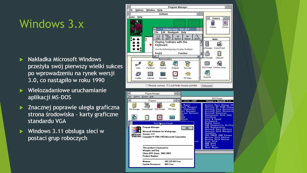 Windows 3.x  Nakładka Microsoft Windows przeżyła swój pierwszy wielki sukces po wprowadzeniu na rynek wersji 3.0, co nastąpiło w roku 1990  Wielozadaniowe uruchamianie aplikacji MS-DOS  Znacznej poprawie uległa graficzna strona środowiska - karty graficzne standardu VGA  Windows 3.11 obsługa sieci w postaci grup roboczych