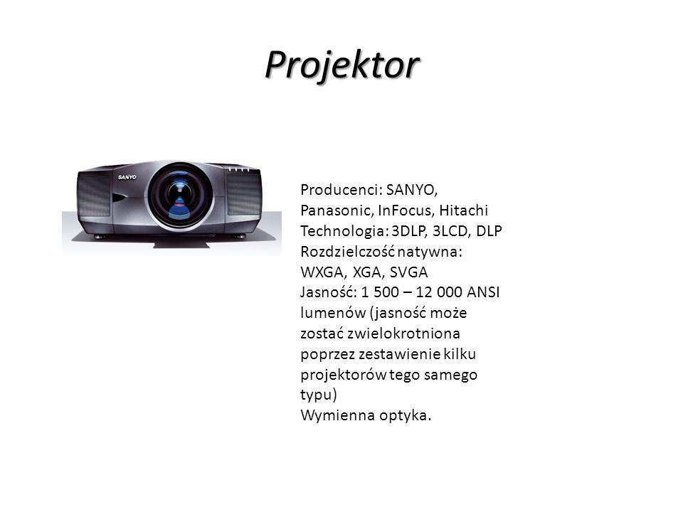 Projektor Producenci: SANYO, Panasonic, InFocus, Hitachi Technologia: 3DLP, 3LCD, DLP Rozdzielczość natywna: WXGA, XGA, SVGA Jasność: 1 500 – 12 000 ANSI lumenów (jasność może zostać zwielokrotniona poprzez zestawienie kilku projektorów tego samego typu) Wymienna optyka.
