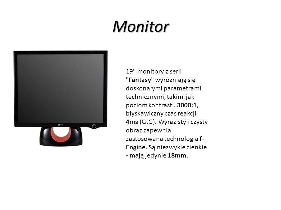 Monitor 19 monitory z serii Fantasy wyróżniają się doskonałymi parametrami technicznymi, takimi jak poziom kontrastu 3000:1, błyskawiczny czas reakcji 4ms (GtG).