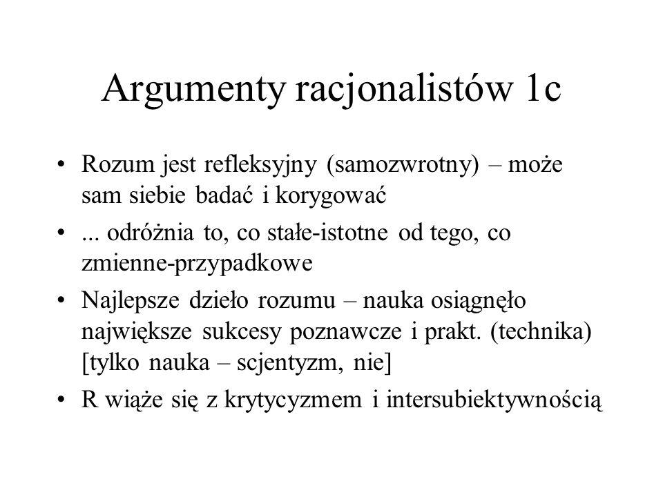 Argumenty racjonalistów 1c Rozum jest refleksyjny (samozwrotny) – może sam siebie badać i korygować... odróżnia to, co stałe-istotne od tego, co zmien