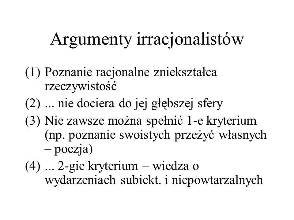 Argumenty irracjonalistów (1)Poznanie racjonalne zniekształca rzeczywistość (2)... nie dociera do jej głębszej sfery (3)Nie zawsze można spełnić 1-e k