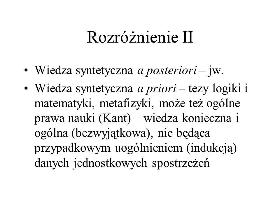 Rozróżnienie II Wiedza syntetyczna a posteriori – jw.