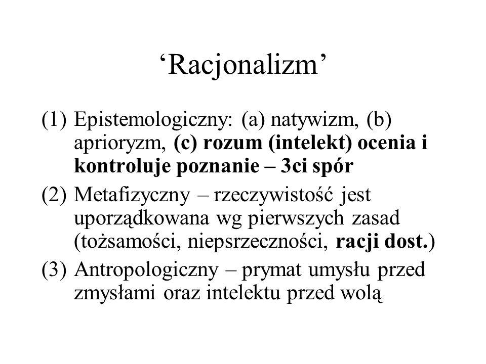 'Racjonalizm' (1)Epistemologiczny: (a) natywizm, (b) aprioryzm, (c) rozum (intelekt) ocenia i kontroluje poznanie – 3ci spór (2)Metafizyczny – rzeczywistość jest uporządkowana wg pierwszych zasad (tożsamości, niepsrzeczności, racji dost.) (3)Antropologiczny – prymat umysłu przed zmysłami oraz intelektu przed wolą