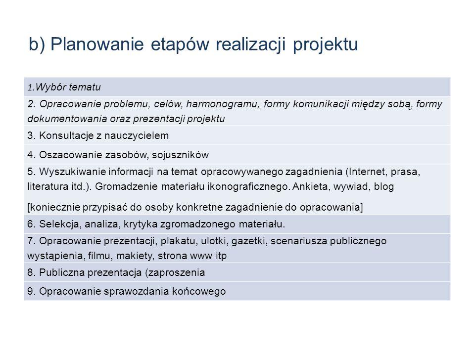 b) Planowanie etapów realizacji projektu 1. Wybór tematu 2. Opracowanie problemu, celów, harmonogramu, formy komunikacji między sobą, formy dokumentow