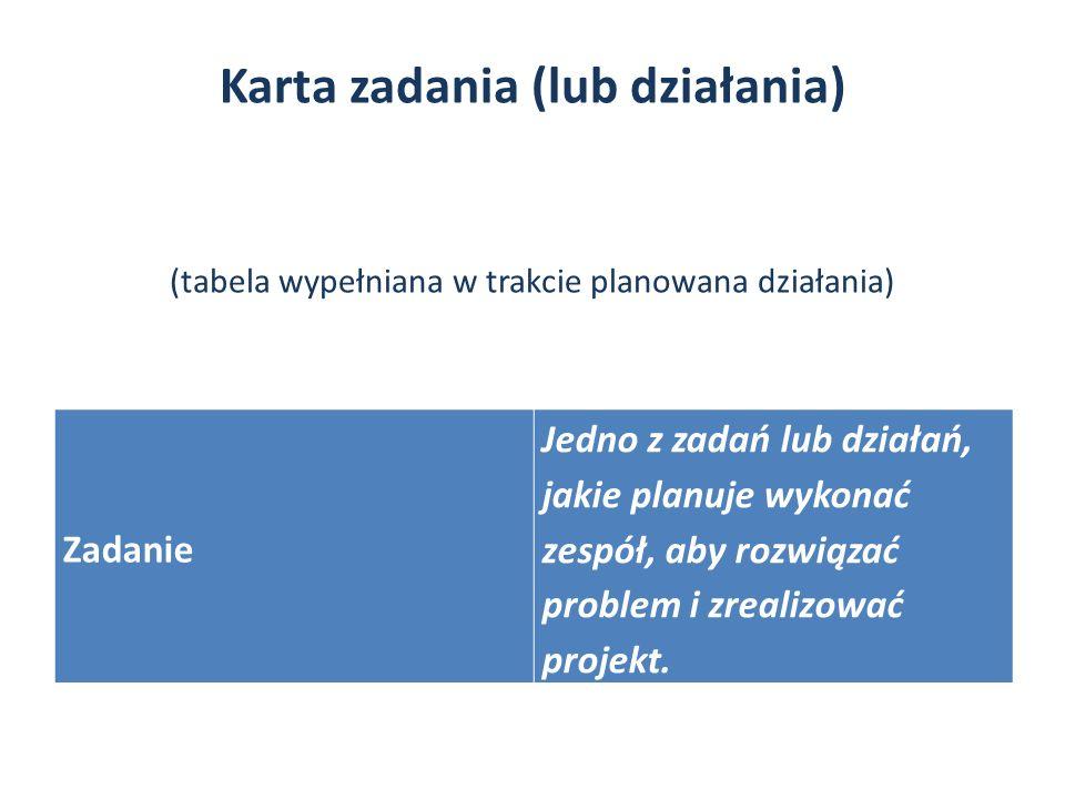 Karta zadania (lub działania) (tabela wypełniana w trakcie planowana działania) Zadanie Jedno z zadań lub działań, jakie planuje wykonać zespół, aby rozwiązać problem i zrealizować projekt.