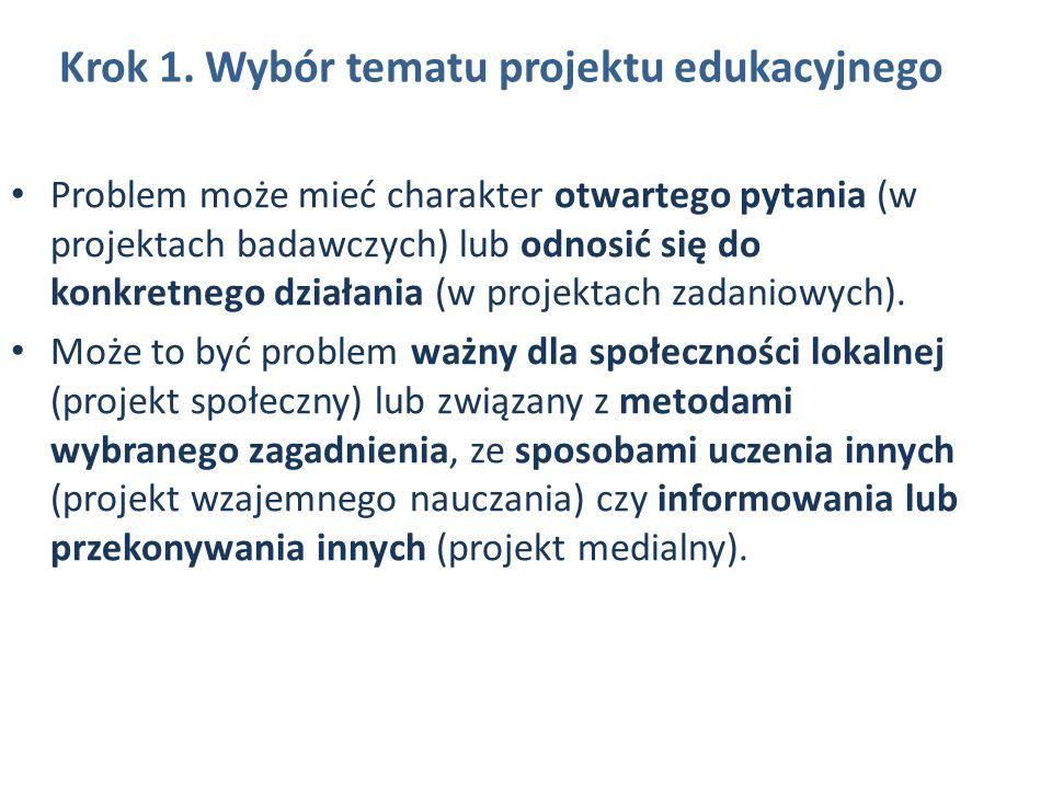 Krok 1. Wybór tematu projektu edukacyjnego Problem może mieć charakter otwartego pytania (w projektach badawczych) lub odnosić się do konkretnego dzia
