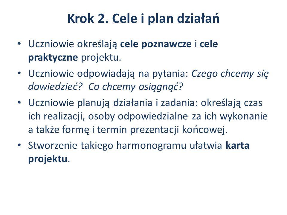 Krok 2. Cele i plan działań Uczniowie określają cele poznawcze i cele praktyczne projektu.