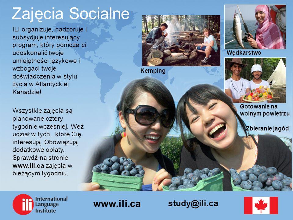 study@ili.ca www.ili.ca Zajęcia Socialne ILI organizuje, nadzoruje i subsydjuje interesujący program, który pomoże ci udoskonalić twoje umiejętności językowe i wzbogaci twoje doświadczenia w stylu życia w Atlantyckiej Kanadzie.