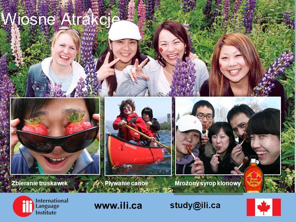 study@ili.ca www.ili.ca Wiosne Atrakcje Mrożony syrop klonowyPływanie canoeZbieranie truskawek