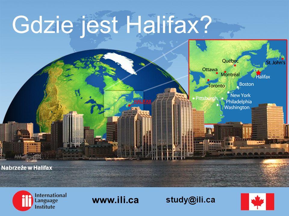 study@ili.ca www.ili.ca Informacje o Halifax Stolica prowincji Nowa Szkocja Założone w 1749 roku Umiarkowany klimat Liczba ludności 400,000 35,000 studentów uniwersyteckich 5 Uniwersytetów Największe miasto w Atlantyckiej Kanadzie Centrum rządowe, biznesowe, edukacyjne i wojskowe Bezpośrednie loty do Toronto, Montrealu, Nowego Jorku, Bostonu, Detroit, Frankfurtu, & Londynu