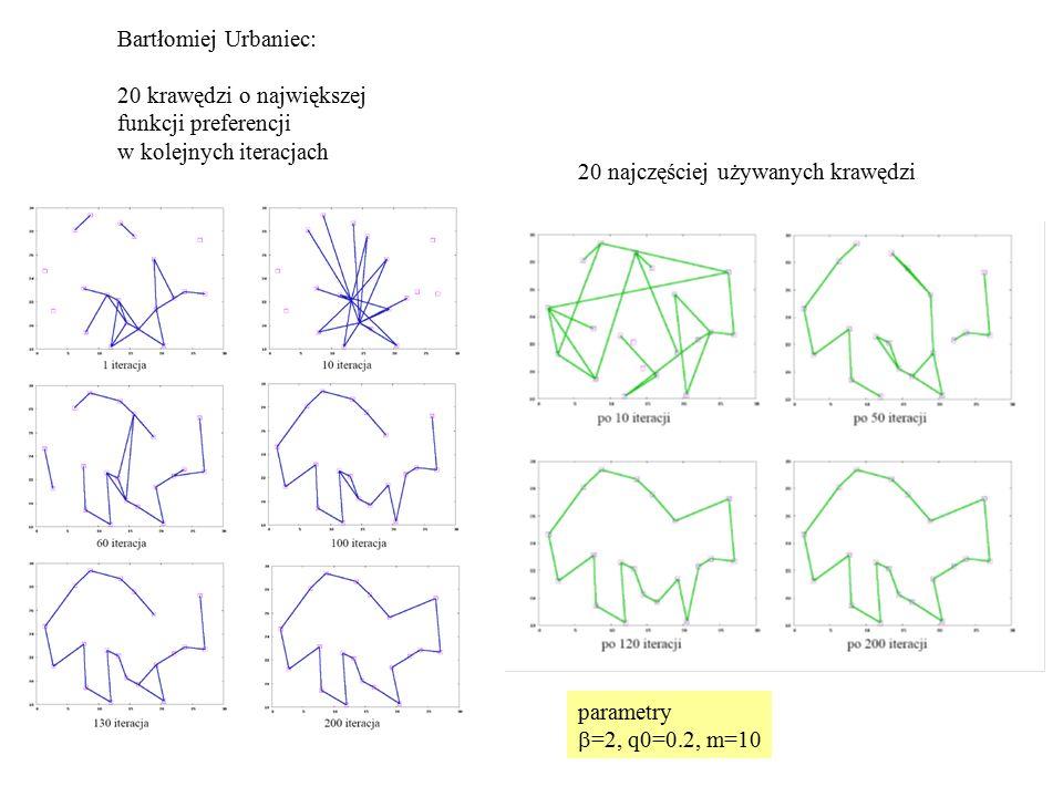 Bartłomiej Urbaniec: 20 krawędzi o największej funkcji preferencji w kolejnych iteracjach 20 najczęściej używanych krawędzi parametry  =2, q0=0.2, m=