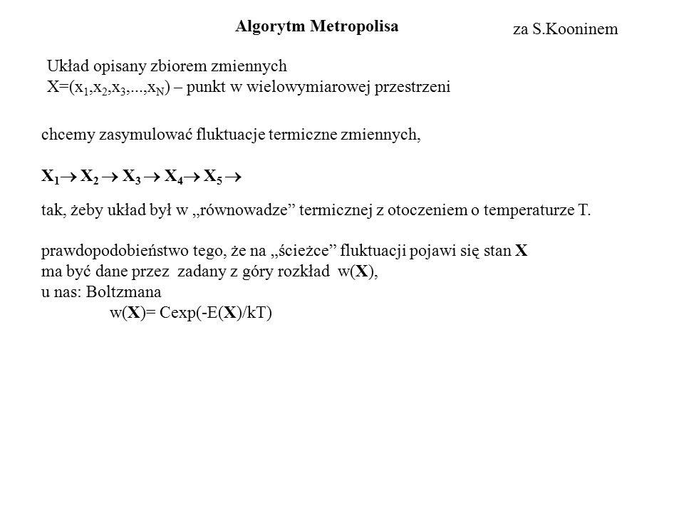 Układ opisany zbiorem zmiennych X=(x 1,x 2,x 3,...,x N ) – punkt w wielowymiarowej przestrzeni chcemy zasymulować fluktuacje termiczne zmiennych, X 1