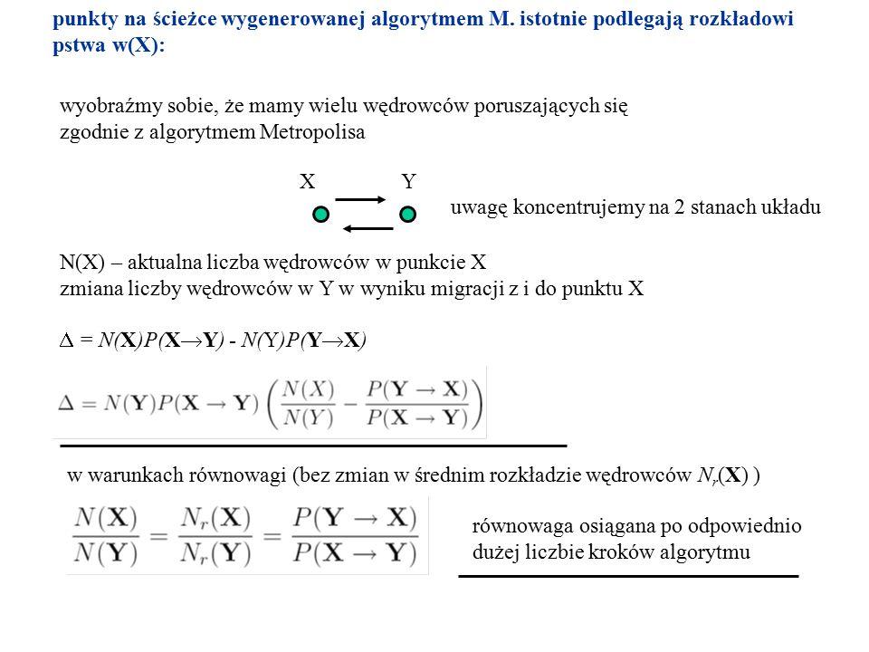 punkty na ścieżce wygenerowanej algorytmem M. istotnie podlegają rozkładowi pstwa w(X): wyobraźmy sobie, że mamy wielu wędrowców poruszających się zgo