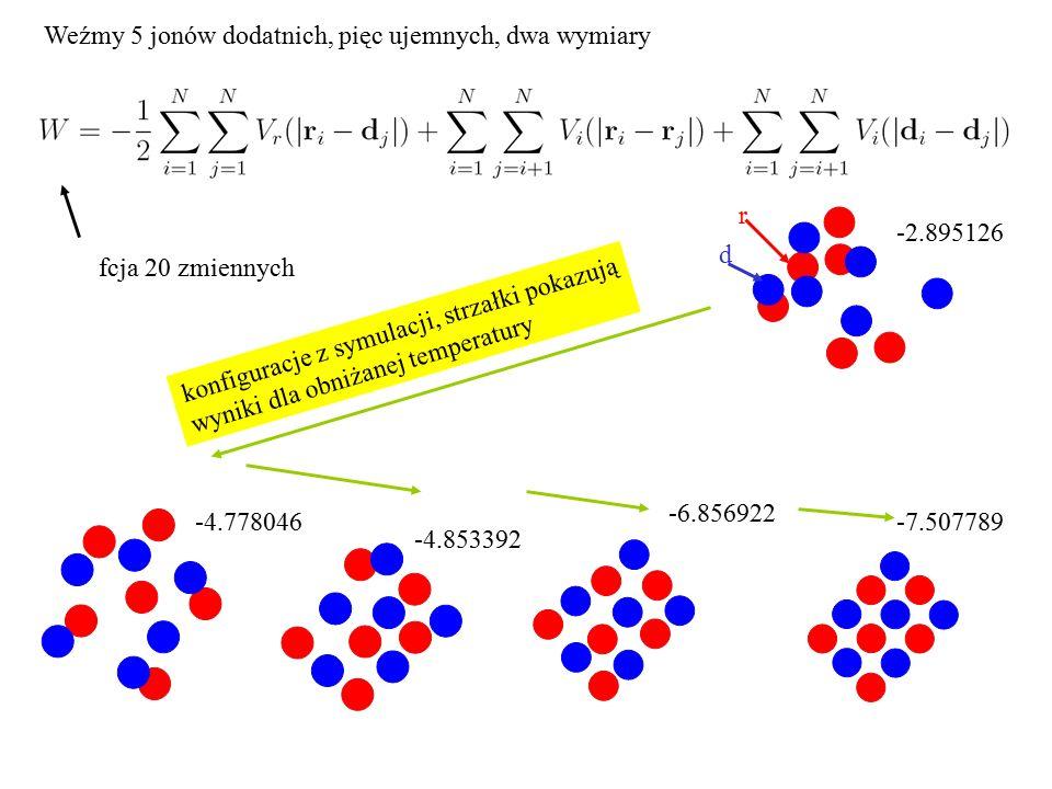 -7.507789 -6.856922 -4.853392 -2.895126 -4.778046 r d fcja 20 zmiennych Weźmy 5 jonów dodatnich, pięc ujemnych, dwa wymiary konfiguracje z symulacji,