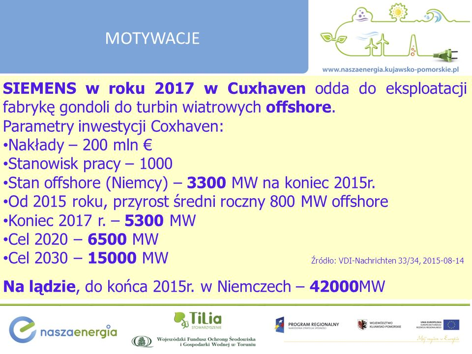 SIEMENS w roku 2017 w Cuxhaven odda do eksploatacji fabrykę gondoli do turbin wiatrowych offshore.