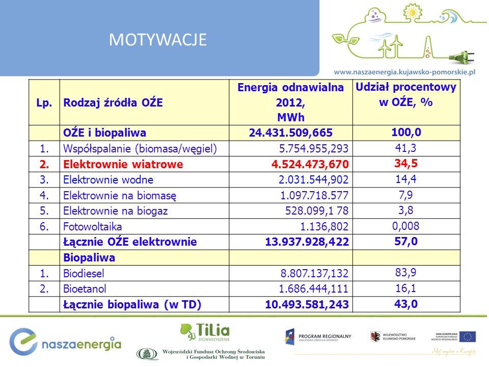 Lp.Rodzaj źródła OŹE Energia odnawialna 2012, MWh Udział procentowy w OŹE, % OŹE i biopaliwa24.431.509,665 100,0 1.Współspalanie (biomasa/węgiel)5.754.955,293 41,3 2.Elektrownie wiatrowe4.524.473,670 34,5 3.Elektrownie wodne2.031.544,902 14,4 4.Elektrownie na biomasę1.097.718.577 7,9 5.Elektrownie na biogaz528.099,1 78 3,8 6.Fotowoltaika1.136,802 0,008 Łącznie OŹE elektrownie13.937.928,422 57,0 Biopaliwa 1.Biodiesel8.807.137,132 83,9 2.Bioetanol1.686.444,111 16,1 Łącznie biopaliwa (w TD)10.493.581,243 43,0 MOTYWACJE