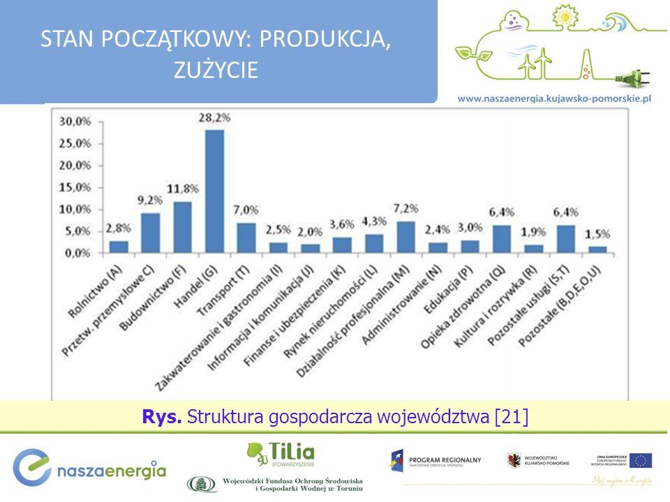 Rys. Struktura gospodarcza województwa [21] STAN POCZĄTKOWY: PRODUKCJA, ZUŻYCIE