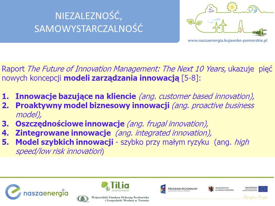 Raport The Future of Innovation Management: The Next 10 Years, ukazuje pięć nowych koncepcji modeli zarządzania innowacją [5-8]: 1.Innowacje bazujące na kliencie (ang.